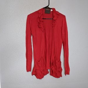 Anthropologie Red Open Front Boho Cardigan